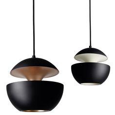 Pendelleuchte im Sixties-Design HERE COMES THE SUN schwarz *Die Design-Pendelleuchten (Modell 2 und 3 mit Ø 25/35 cm), matt-schwarz mit Kupfer bzw. weiß
