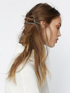 Geo Half Up Holder | Secure your half up hairdo with this geo shaped metal holder.  Etched metal detailing.  *By Free People