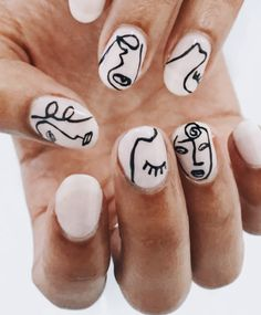 """If you're unfamiliar with nail trends and you hear the words """"coffin nails,"""" what comes to mind? It's not nails with coffins drawn on them. It's long nails with a square tip, and the look has. Hair And Nails, My Nails, Nude Nails, Picasso Nails, Nail Art Blanc, Nail Art Designs, Uñas Diy, Nagellack Trends, Nail Polish"""