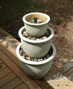 1 Two Tiered Flower Pot Two Tiered Flower Pot Fountain (via The Happy Two Tiered Water Two Tiered Water Garden (via Ups A Unique Water Unique Water Feature: Try your hand at creating. Small Water Features, Water Features In The Garden, Diy Fountain, Garden Fountains, Outdoor Water Fountains, Water Fountain Design, Small Fountains, Garden Ponds, Koi Ponds