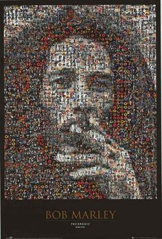 "An awesome Bob Marley ""photomosaic"" poster - hundreds of tiny images of the Reggae legend form a classic portrait! Fully licensed - 1998. Ships fast. 24x36 inches. Check out the rest of our Natty sele"