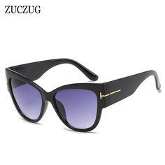 ZUCZUG Oversized Cat Eye Sunglasses Women Brand Designer Widen Frame Gradient Lens Female Wood Grain Style Eyewear
