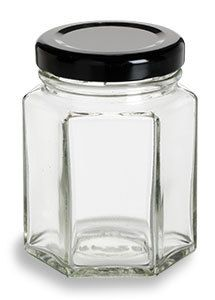 Lot 360 Hexagon Hex Glass Jars for CANDLES Jelly Jam 1.5 oz With Gold Lids