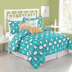 Very colorful, but thought you'd like it  Trina Turk Ogee Mini Comforter Set, 100% Cotton - Bed Bath & Beyond $100 for a queen comforter set