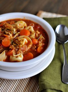 Tortellini Sausage Soup-this is one of my favorite soups.  Will be making a double batch this weekend.