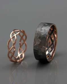 Celtic wedding ring sets - Rose Gold Black and Bright Celtic Wedding Rings Set Handmade rose gold Eternity wedding Rings His and Hers Wedding Bands Set – Celtic wedding ring sets Wedding Rings Sets His And Hers, Wedding Rings Simple, Wedding Band Sets, Wedding Rings Vintage, Wedding Men, Unique Rings, Vintage Rings, Wedding Ideas, Gown Wedding