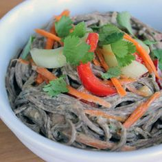 Fit Sugar: Soba Noodle Salad With Ginger Peanut Dressing.  (Will replace cucumbers with zucchini & omit the red pepper)