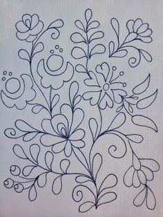 Embroidery Design by Rita Barton: Painted Hungarian Folk Art Flowers @ ritaba . Mexican Embroidery, Hungarian Embroidery, Learn Embroidery, Crewel Embroidery, Cross Stitch Embroidery, Simple Embroidery, Folk Art Flowers, Flower Art, Painting Flowers