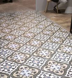 Moroccan Impressions porcelain tiles (carthusian design).  These patterns are printed and fired onto a glazed porcelain tile base. At 1cm thick they are perfect for both floors and walls. Suitable for interior floors and walls.