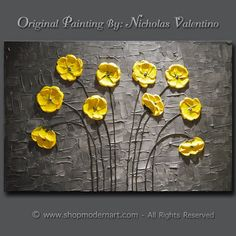 Large 36x24x1.5 Original Blossom Tree Painting by ShopModernArt - love the yellow and the texture!