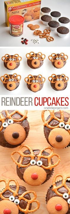 Easy Reindeer Cupcakes These reindeer cupcakes are SO EASY and fun to make! They'd be great for a school party, a Christmas potluck, or just as a fun treat to make with the kids when school's out! Christmas Potluck, Holiday Snacks, Christmas Party Food, Xmas Food, Christmas Cupcakes, Christmas Sweets, Christmas Cooking, Christmas Goodies, Kids Christmas