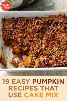 19 Easy Pumpkin Recipes That Use Cake Mix Pumpkin Deserts, Pumpkin Coffee Cakes, Pumpkin Recipes, Spice Cake Mix And Pumpkin, Pumpkin Pie Bars, Recipes Using Cake Mix, Pumpkin Recipe Using Cake Mix, Cake Mix Bars, Cake Mixes
