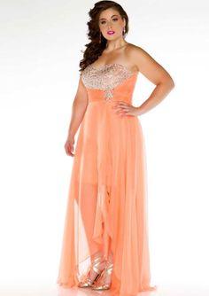 2015 Melon Chiffon Ocean Blue Sweetheart Crystals Zipper Sleeveless High Low Homecoming / Plus Size Dresses Cassandra 64484
