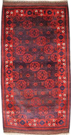 ANTIQUE BALUCH RUG WITH OUTSTANDING COLOUR, FULL PILE, GREAT BORDER, CIRCA 1880. Size: 6ft 6in x 3ft 5in (197 x 104cm).