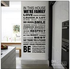Wholesale Wall Stickers - Buy House Rule We are Family Wall Quote Decal Decor Sticker Lettering Saying Wall Art Stickers Decals, $11.46 | DH...