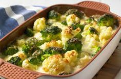 cauliflower cheese - microwave some cauliflower and brocolli. Make some white sauce from a packet. Top with cheese and oven for half an hour.