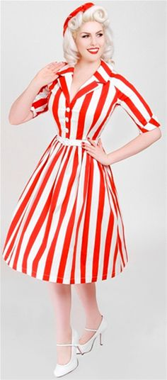 Striped Dress by Bettie Page Clothing