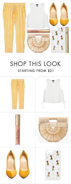 """street style"" by sisaez ❤ liked on Polyvore featuring MANGO, rag & bone, Too Faced Cosmetics, Cult Gaia, Christian Louboutin, Sonix and Dolce&Gabbana"