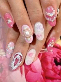 pretty - pearl flower rhinestone sparkle jewel glitter nails pink.