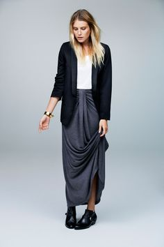 long skirt with ankle boots   Dree Hemingway for Savannah 2012 collection