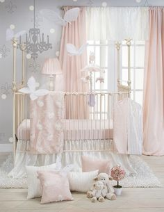 Create a lovely nursery fit for a princess with the beautiful Glenna Jean Lil Princess Crib Bedding Set. The lavish crib bedding set features a world of delicate petal pink and cream with a vintage-inspired look. Princess Crib Bedding, Princess Nursery, Baby Girl Crib Bedding, Nursery Bedding Sets, Baby Cribs, Girl Nursery, Pink Crib, Disney Nursery, Princess Room