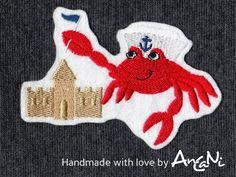 Aufnäher Krebs / Krabbe mit Sandburg ♥ Applikation von AnCaNi auf DaWanda.com