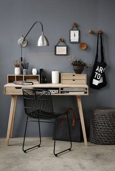 Home Office Space Design Ideas is a part of our furniture design inspiration series. Furniture Inspiration series is a weekly showcase of incredible designs Office Space Design, Workspace Design, Home Office Space, Home Office Decor, Office Ideas, Small Office, Black Office, Office Inspo, Office Table