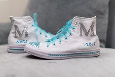 Custom blinged out sneakers for a Bat Mitzvah.    Bat Mitzvah sneakers | Custom Sneakers | Blinged Sneakers | Sports Theme Bat Mitzvah | Bat Mitzvah Fashion