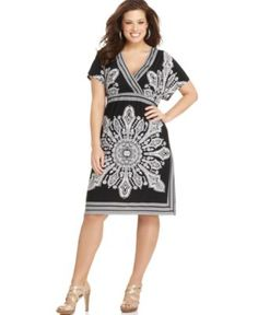 NY Collection Plus Size Dress, Short Sleeve Printed Empire - Plus Size Dresses - Plus Sizes - Macy's