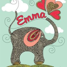 Valentina Design by Valentina Ramos - Custom Personalized  Cute Elephant print 1 by valentinadesign, $22.00