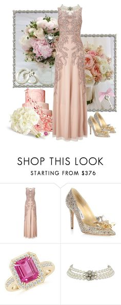 Georgeous gown for a wedding party by fashionrushs on Polyvore featuring Adrianna Papell and Jimmy Choo