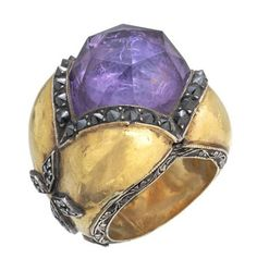 fabulous old amethyst ring.                 like the patina
