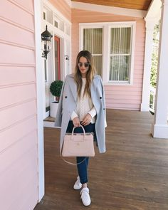 daily look (Dior coat + Madewell classic cable pullover sweater + Frame jeans + Alexander McQueen sneakers + Chanel bag + Warby Parker sunnies) Fall Winter Outfits, Autumn Winter Fashion, Spring Outfits, Spring Fashion, Winter Ootd, Winter Style, Preppy Style, My Style, Gal Meets Glam