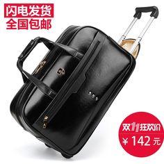 89.00$  Buy now - http://aliyjw.worldwells.pw/go.php?t=32762500796 - Trolley bag trolley bag waterproof travel bag handbag luggage travel bag,high quality black pu leather travel duffle 89.00$