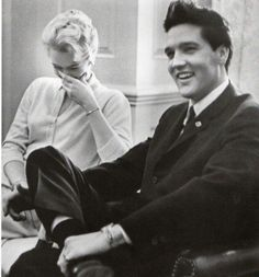 Elvis and Governor Buford Ellington's daughter, Ann Ellington, share a laugh during His visit at the Governor's Mansion, March 8th, 1961.