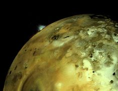 "Volcanic explosion on Io. Image taken by Voyager 1 on 1979-03-04. The explosion is silhouetted over Io's bright limb. The color of the volcanic limb is true, but the brightness has been increased, as it's very faint. (Credit: NASA/JPL) Mona Evans, ""Jupiter's Galilean Moons"" http://www.bellaonline.com/articles/art42279.asp"