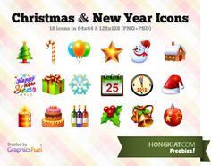 [Christmas Freebie] 18 Christmas & New Year icons (PSD included)