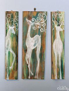 Just A Little Creativity: Colorful Salvage Wood Reindeer Art #TrashToTreasur...