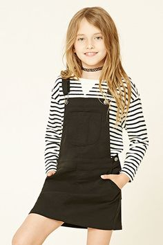 Forever 21 Girls - A knit overall dress featuring an adjustable crisscross straps, six-pocket construction, button sides, and snap-button closure. Teenage Girl Outfits, Cute Girl Outfits, Outfits For Teens, Fall Outfits, Tween Fashion, Fashion 101, Autumn Fashion, Fashion Outfits, 1960s Fashion