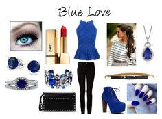 """Blue Love"" by flowerpower2134 on Polyvore featuring Speed Limit 98, T By Alexander Wang, Ralph Lauren, Yves Saint Laurent, Blue Nile, Bling Jewelry, BERRICLE, La Perla and Valentino"