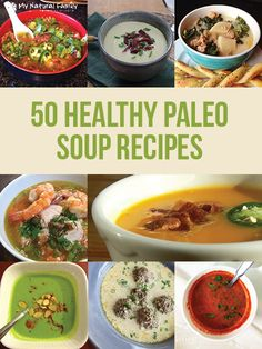 PIN FOR LATER - Going Paleo? Keep this guide to 50 healthy paleo soup recipes handy. Paleo Crockpot Recipes, Whole Food Recipes, Soup Recipes, Diet Recipes, Cooking Recipes, Healthy Recipes, Healthy Soups, Paleo Soup, Paleo Dinner