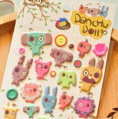 Handmade button eyed plush doll sticker Dachu by StickersKingdom