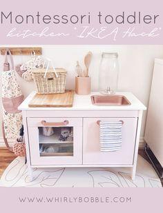 Ikea Montessori, Montessori Toddler Rooms, Toddler Playroom, Playroom Ideas, Ikea Toy Kitchen Hack, Diy Play Kitchen, Ikea Hack, Toddler Kitchen, Deco