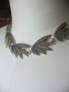 Vintage Eloxal Aluminum Necklace Faux Marcasite 1940s Goldtone Leaf Design. Gorgeous and lightweight, this necklace features large faux marcasite leaf