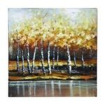 "Nature Painting With Bright Gold Trees. Important Features:_ Painted Canvas_ Size: 24""x1""x24""An impressionist painting that uses bright yellow and orange tones that will brighten a dark room. Silver birch trees stand together at the side o"
