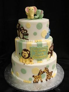 Aren't the fondant animals too cute? Especially the elephant duo topper? We enjoyed making this 3 tier baby shower cake for little Jack. @PartyFlavors #PartyFlavors