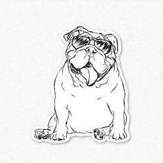 Perro etiqueta Bulldog Inglés lengua etiqueta engomada por