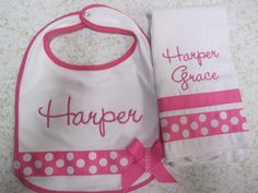 Personalized Baby Girl Embroidered Bib and Burp by SeamlessNights, $25.00