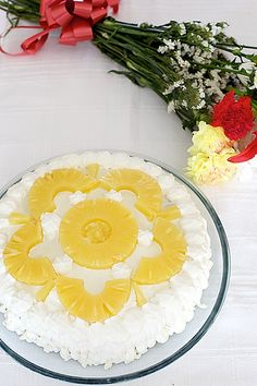 An Eggless Pineapple and cream cake. Will have to try this one day.
