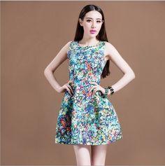 Sleeveless flowers dress